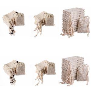 Soap Saco que faz bolhas Saver Sack bolsa de armazenamento cordão Sacos da superfície da pele de algodão Limpeza de linho com cordão Titular Bath Supplies YL24