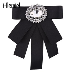 I-REMIEL TIE BOWS BOWS Brooche Rhinestone Paño Art Pins and Broches Ladies Broches Cuello Decoración Groom Blusa Joyería Insignia