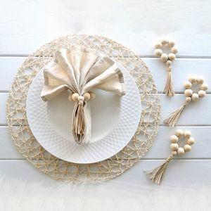 4PCS Wood Bead Garland Napkin Rings Tassels Rustic Napkin Holder Ring Wall Hanging Decorative Ornaments