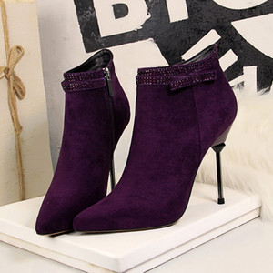 Genuine Leather Ankle boots for women High heel boots Sexy Pointed Toe 2021 Winter Fashion shoes woman botas mujer botte femme