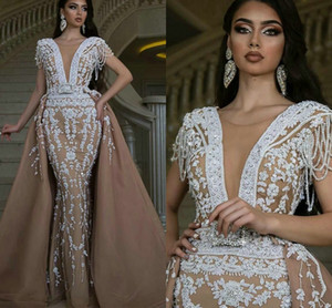 Champagne Mermaid Evening Pageant Dresses with Detachable Train 2021 Luxury Beaded Crystal Beaded Arabic Prom Occasion Gowns