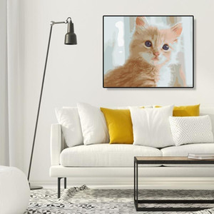 Wall Art Coloring DIY Oil Canvas Painting By Numbers Digital Painting Home Decor Silly Cute Cat Landscape Pictures