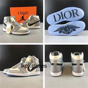 мужчины 1 Ким Джонс косая Верхний сливочный белый и светло-серый прозрачный кристалл Подошвы DIOR х Air Jordan 1 High OG Kaws обувь