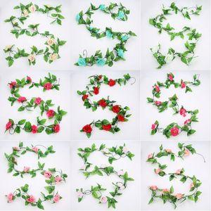 Rosen-Rebe Hängen der Kunstseide-240CM 9 Kopf Ivy Roses Pflanzen Blätter Garland Hochzeit Home Decoration