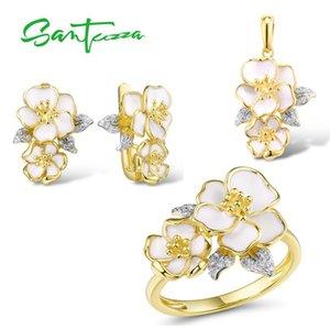 SANTUZZA Jewelry Set for Women 925 Sterling Silver White Orchid Flowers Pendant Earrings Ring Set Fine Jewelry Handmade Enamel MX200810