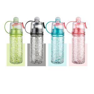 Самых дешевые 4 цвета BPA Free Tritain Спорт бутылка вода путешествует Беговой портативный охлаждения Mist Spray бутылки воды с ручкой