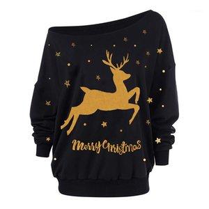 Womens Designer Tshirts Sexy Slash Neck Milu Deer Print Womens Tees Casual Females Clothing Christmas Day