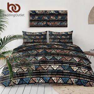 BeddingOutlet Geometric Bedding 3-Piece Tribal Striped Duvet Cover Set Ethnic Native Quilt Cover Bedspread Vintage Beddengoed