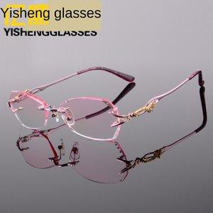 XZ5jT جديد سبيكة أزياء التيتانيوم وتقليم بدون إطار المرأة قصر النظر قصو البصر الشيخوخي قصو البصر الشيخوخي نظارات نظارات 8036