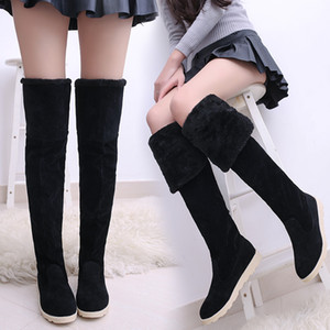 Nice Quality Fashion Winter long Fur Snow Boots Black Women Suede Over the Knee Shoes Female Tube Long Boots Tenis Feminino Zapatos Mujer