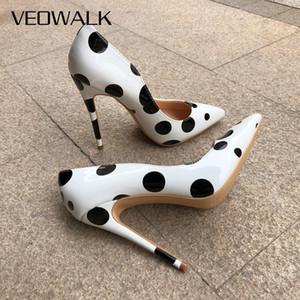 Veowalk Poka Dot печати Женщины Симпатичные шпильках Высокие каблуки Офис Элегантные дамы поскользнуться на Заостренный Toe Pumps Молодые девушки обувь белого LJ200924