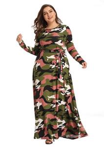 Платья Плюс Размер женской одежды женщины конструктор вскользь платье с длинным рукавом Экипаж шея Камуфляж печати Maxi