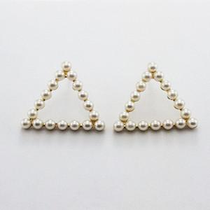 P1NUe Mode Modeschmuck koreanische elegante Persönlichkeit des öffentlichen Lebens nachgemachte Perle Perlen und Ohrringe personalisierte Geometric Triangle Quadrat Ohrringe fo
