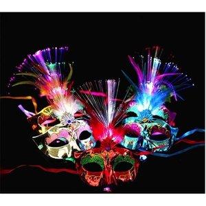 Up Venetian Frauen Led-Lichtfaser Mask Abendkleid-Partei Prinzessin Feder glühende Maskerade-Schablonen