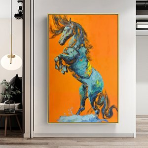 SuperArt_home Wall Pictures Animal Poster Print Horse Abstract Oil Painting Canvas Paintings Wall Art Living Room Home Decor