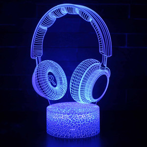 7 Color Touch interruptor de controle remoto LED luzes New Headphone forma de tabela 3D lâmpadas 3D Atmosfera Night Light