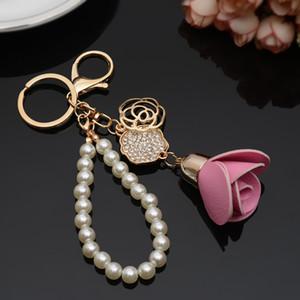 Women Pearl Bag Accessory Fashion Zircon Rose Flower Keychain Handmade Pu Leather Flower Key Ring