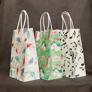 2pcs Cartoon Craft Kraft Paper Bag with Handles Gift Bags Vintage Envelope For Card Scrapbooking Gift Stationery