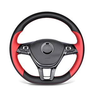 Hand-stitched Artificial Leather Car Steering Wheel Cover for Volkswagen VW Golf 7 Mk7 New Polo Passat B8 Tiguan Sharan car accessories