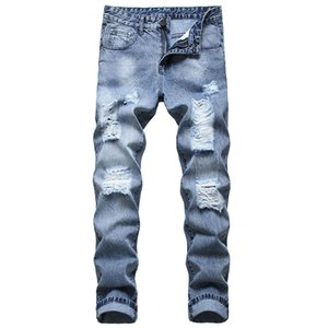 Men denim jeans trousers fashion, large size pants ripped jeans ripped holes casual holes new destroyed man