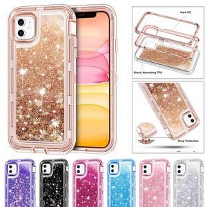 Prim Glitter Quicksand Ağır Hizmet Darbeye Defender Telefon Kılıfı iPhone 12 11 Pro Max Xr Xs Max 8 7 6 Plus SE