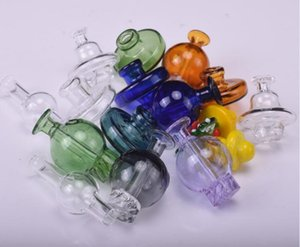 Wholesale Carb Cap stand Glass holder and cyclone spin carb cap pink purple for 25mm flat top quartz banger dab Terp Pearls bong