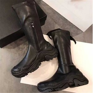 Solid Leather Boots Slip-On Mid-tube Shoes Rubber Soft Sole Shoes Platform Heighten 2020 Casual All-match Women Boots