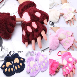 Women Winter Gloves Cute Cat Claw Plush Mittens Warm Fingerless Glove Touch Screen Costume Half Finger Mitten For Girls Kids