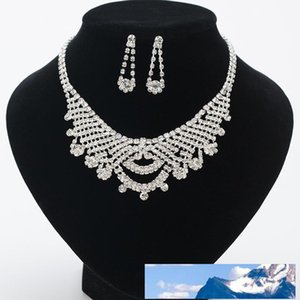Clavicle Chain Pendant Bride Crystal Earrings Necklace Woman Pendeloque Cut Sweater Chain Jewelry .