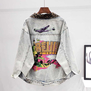 Fashion Beading Print Leopard Stitching Loose Jeans Jacket Women Retro Blue Denim Jacket Female Oversized Denim Coat Streetwear