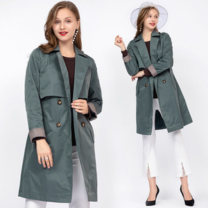 Plus size ladies windbreaker outwear 2020 autumn European fashion lapel collar waist belt double breasted elegant trench coat5XL