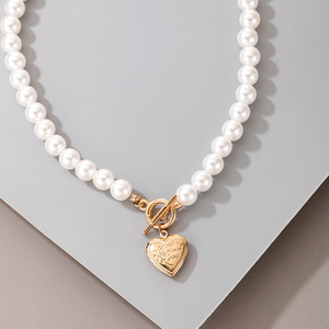 Wholeale Women Short Pearl Chokers Necklace for Women Gold Color Heart Love Coin OT Clavicle Chain Jewelry