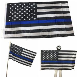90 * 150cm Banderas BlueLine EE.UU. Policía 3x5 pies Thin Blue Line EE.UU. Bandera Negro blanco y azul de la bandera americana RRA3546