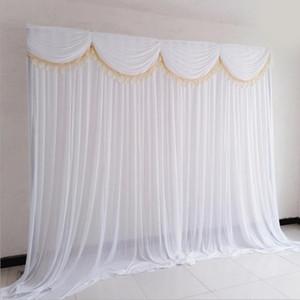10x10ft seda Ice fontes do casamento elegante do casamento cenário cortina cortina cortina cortinas fundo para o evento do partido Amarrado / Canalizado