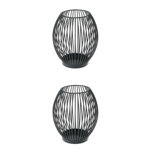 Titolare della rete metallica di ferro 2pcs Black Lantern Candle Light dell'attività Casa ornamento Vintage Art Style