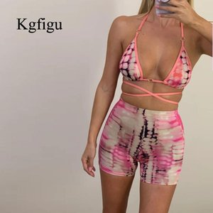 KGFIGU 2020 Summer New Design print sexy tank top Beach shorts 2 two piece set hot travel women tracksuit crop tops streetwear