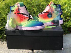 J Balvin Otantik 1 Yüksek OG Man Basketbol Ayakkabı Çoklu Renk Siyah Pembe Köpük Jennifer Lopez Shakira Giysi S Zapatos Sneakers ABD 7-13 x