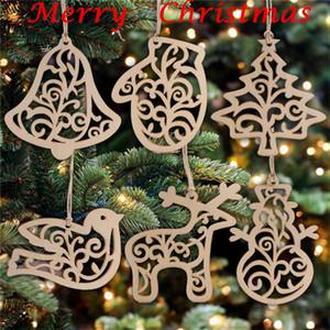 2020 Ornement de Noël Lettre en bois Motif arbre de Noël Décorations Accueil Fête Ornements Suspendus cadeau de 6 pc par sac FY7173