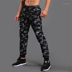 Pantalones ocasionales de los pantalones de diseño varones ropa de camuflaje para hombre Imprimir cremallera de la manera del lazo del bolsillo con paneles de deportes del Mens