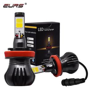EURs 2pcs Двухцветный противотуманная фара H3 LED 880 H11 9005 9006 H7 светодиодный фонарь 3000k 6000k мигать лампа Включение парковки лампы 12V