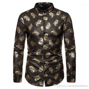 Homme manches longues Hauts imprimé cachemire pour hommes Designer Chemise luxe d'or Hommes Vêtements Décontractée Mode