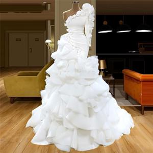 Elegant Ball Gown Skirt Mermaid White Prom Dress One Shoulder Draped vestidos de cóctel Evening Gown WeddingParty Dress