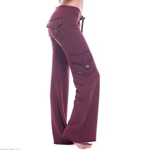 Pocket Drawstring Yoga Wide Leg Pants 2020 Autumn Elastic Waist Button Pocket Drawstring Yoga Wide Leg Pants