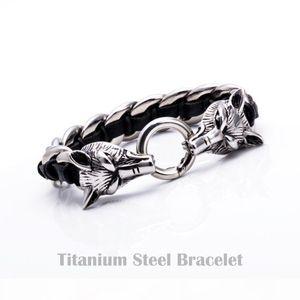 A Mens Punk Wolf Pulseras Titanium Polished 316l Stainless Steel Genuine Leather Bracelet Wristbands Bangle Trendy Jewelry Boys Brace L
