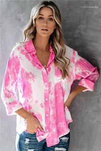 Shirts Fashion Womens Blouses Designer Floral Contrast Color Shirts Women Casual Loose Long Sleeved Lapel Neck