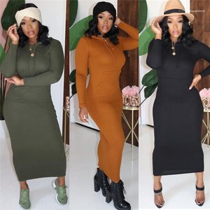 pencil Dress Casual Street Style Female Clothing Autumn Ladies Designer Dress Solid Color Printed Big Pocket