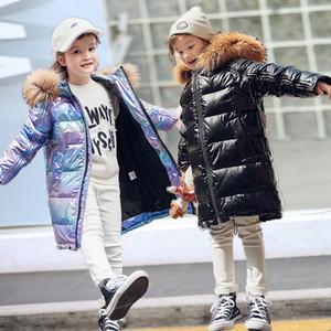 -30 الروسية الصبي سترة الشتاء للفتيات أسفل طفل مراهق ملابس خارجية معطف للماء سترة الأطفال الفرو الطبيعي الملابس البدلة الدافئة