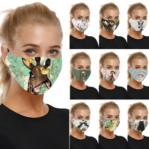 10pcs Fashion cute animal printed adult men women civilian masks dustproof ear-mounted multicolor protective washable face masks