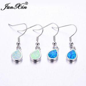 Junxin Femme Dangle Boucles d'oreilles Blanc Bleu Opale de feu Goutte d'eau Boucles d'oreilles Argent Couleur Double Boucles d'oreilles pour les femmes