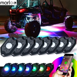 Marloo 8 Pods RGB LED Rock Lights with Bluetooth Controller Remote Multicolor Neon Light Kit for Timing Music Mode Flashing